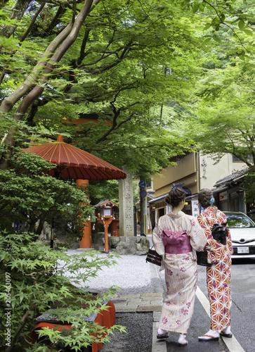 Fotobehang Kyoto Women dressed in kimono at Kifune Shrine in Kyoto, Japan