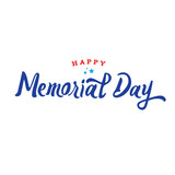 Happy Memorial Day Calligraphy Vector Illustration with Stars Over White Background