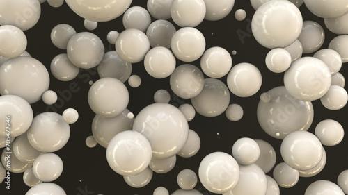 White spheres of random size on black background