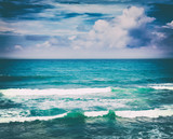 Beautiful view of sea vawes. Tropical landscape