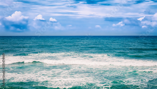 Beautiful view of sea vawes. Tropical landscape. Panorama