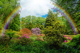 Beautiful  garden.  city park with rainbow - 205475482