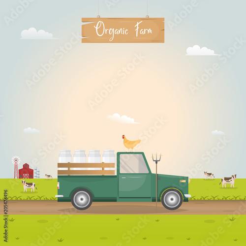Plexiglas Boerderij Farming with vintage car and barn house in dairy farm