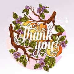 Thank You Lettering with quince fruits and flowers on background