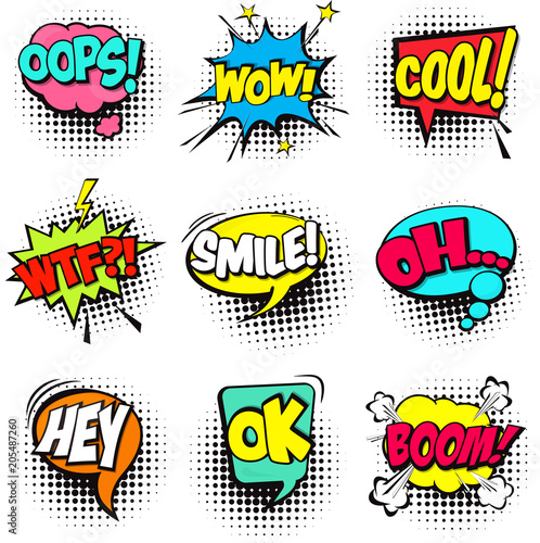 Canvas Pop Art Collection of Cartoon, Comic Speech Bubbles. Colored Dialog Clouds with Halftone Dot Background in Pop Art Style. Vector Illustration for Comics Book. Speech Bubbles with Word and Sound Illustration