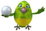 Fun green bird - 3D Illustration - 205488011