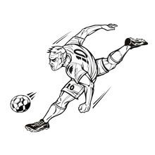 Soccer Player Power Kick Sticker