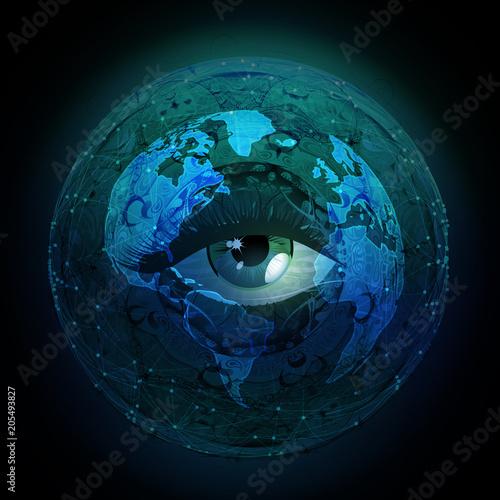 Aluminium Reznik рисованной глаз иллюстрации с абстрактным фоном космоса