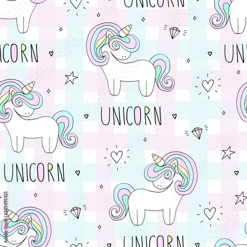 Cotton fabric cute unicorn vector pattern