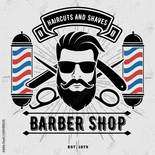 Fototapeta samoprzylepna Barbershop Logo with barber pole in vintage style. Vector template