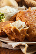 Traditional fish in beer batter and chips - 205500827