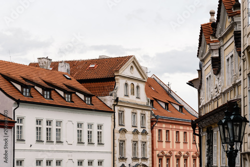 Old residential buildings in Mala Strana district of Prague