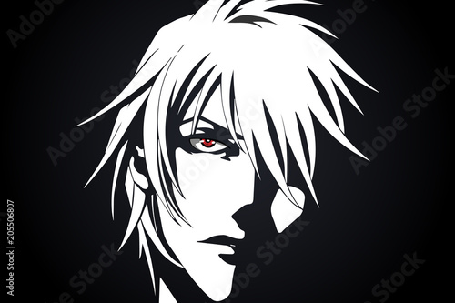 Anime face from cartoon with anime red eyes on black and white background. Vector illustration - 205506807