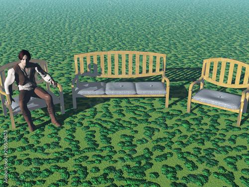 Gartenmöbel auf Wiese