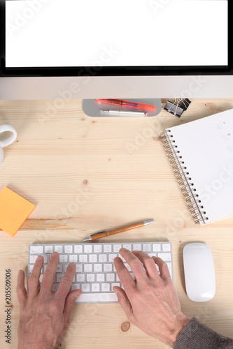 Foto Murales office concept:  man's hands typing on a keybord with copy space