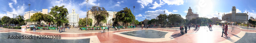 BARCELONA - MAY 14, 2018: Tourists enjoy city streets from Catalunya Square. Barcelona attracts 10 million tourists annually