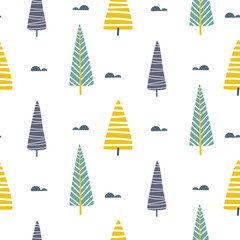 Vector seamless pattern with trees scandinavian print.