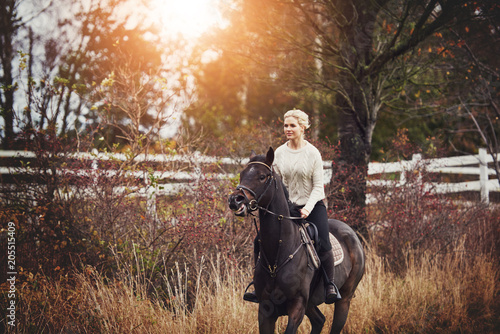 Woman galloping her horse through a field in the autumn