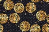 Luxury gold geometric dandelion flowers on black.