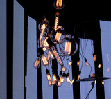 Light bulb incandescent hanging decorated interior room. - 205526045