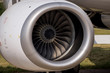 Turbine large passenger aircraft close up at the airport