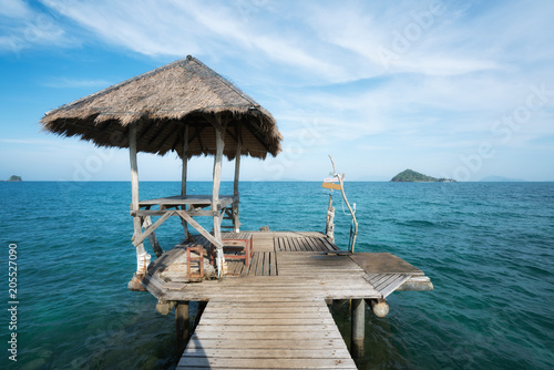 Fotobehang Thailand Wooden pier and hut in Phuket, Thailand. Summer, Travel, Vacation and Holiday concept.