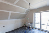 Empty bedroom interior with gypsum board ceiling at renovation - 205529271