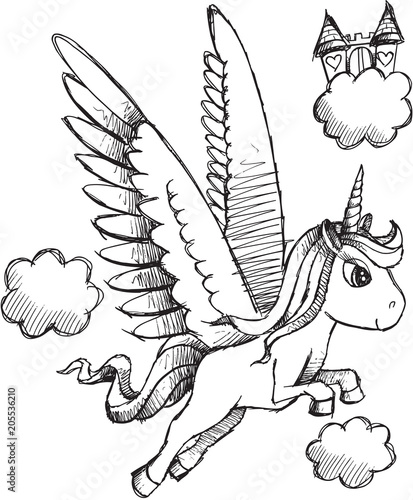 Plexiglas Cartoon draw Doodle Sketch Unicorn Pegasus Vector Illustration Art