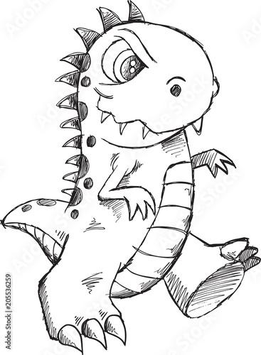 Plexiglas Cartoon draw Doodle Sketch Monster Vector Illustration Art
