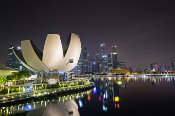 Modern architecture in Singapore city at night