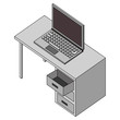 office desk with laptop computer isometric icon vector illustration design