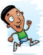 Cartoon Black Man Running - 205540843