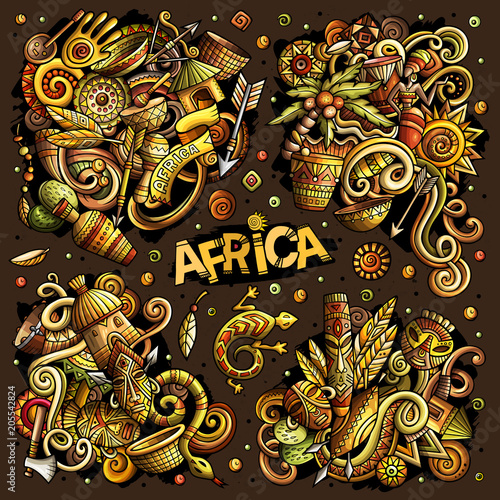 Colorful vector hand drawn doodles cartoon set of Africa combinations of objects and elements