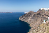 view of Santorini caldera in Greece from the coast - 205543815