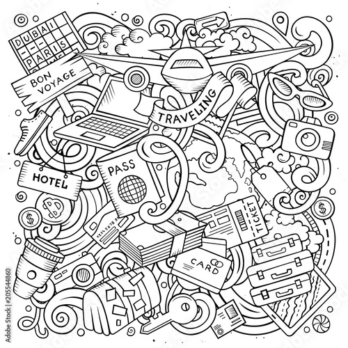 Cartoon vector doodles Travel illustration