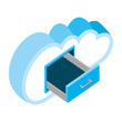 cloud computing with drawer isometric icon vector illustration design