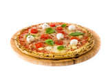 Pizza with tomatoes, cheese and basil isolated on white background- 205548657