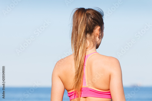 Sticker Woman resting relaxing after doing sports outdoors