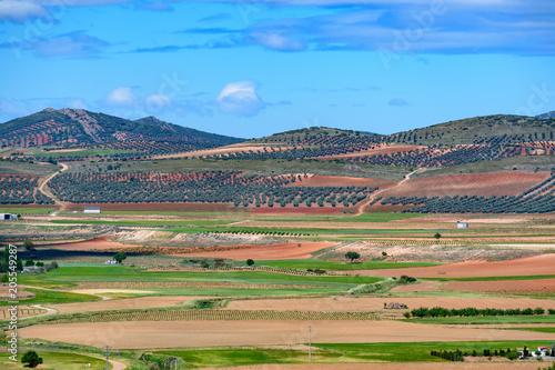 Fotobehang Blauw Spain. Castilla de la Mancha.Consuegra. Fields seen from the Calderico hill.