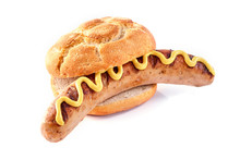 Bratwurst In A Crusty Bread Bun  Yellow Mustard Sticker