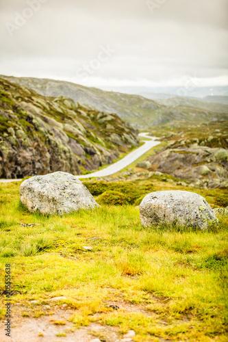Plexiglas Meloen Road landscape in norwegian mountains