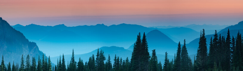 Blue hour after sunset over the Cascade mountains