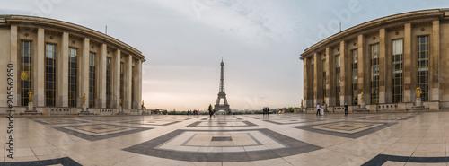 Eiffel Tower Paris Panorama, View over the Tour Eiffel from Trocadero square (Place du Trocadero). Paris, France - 205562850