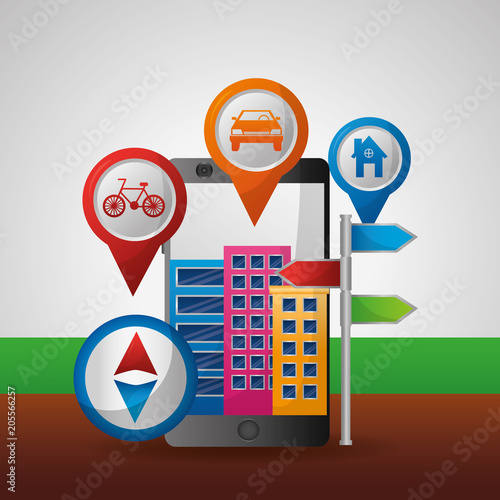 Poster gps navigation city pointer location vector illustration