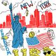 Vector Illustration Sketch America New York