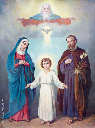 SEBECHLEBY, SLOVAKIA - FEBRUARY 27, 2016: Typical catholic image of Holy Family and Trinity (in my own home) from the end of 19. cent. printed in Germany originally by unknown painter. - 205569474
