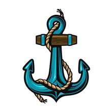 Nautical Anchor  Rope  Illustration Sticker