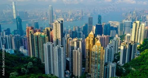 Timelapse of Hong Kong downtown skyline. Hong Kong, China