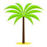 Palm tree / tropical plants isolated on white background for site header, footer, web banner, flyer or postcard, modern flat design conceptual style. Vector illustration. - 205582836