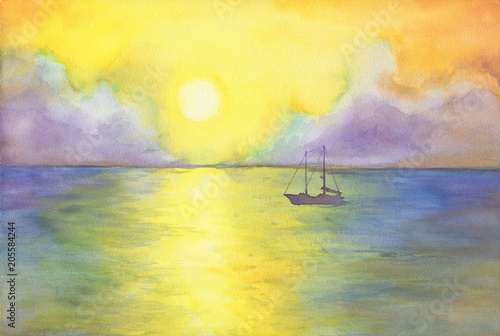 Fotobehang Zwavel geel Abstract landscape with a yacht in ocean. View of sea, sun, cloudy sky at sunset. Watercolor hand drawn painting illustration.